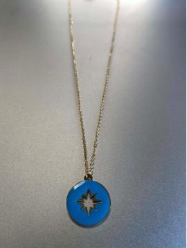 Collier Acier - Pastilles en émail perforée étoile
