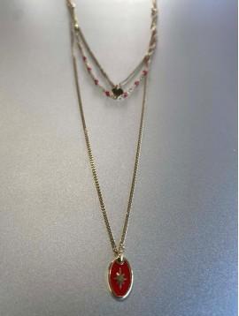 Collier Acier - 3 rangs avec perles et pastille centre étoile pendante