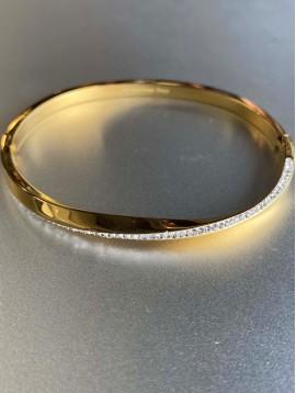 Bracelet Acier - Jonc torsadé avec ligne strass