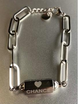 Bracelet Acier - Pentagone gravé sur maillons plats