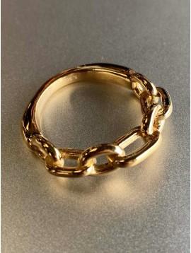 Bague Acier réglable - Maillons entrelacés sur anneau épais