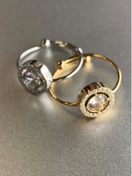 Bague Acier réglable - Pendentif strass orné sur anneau fin