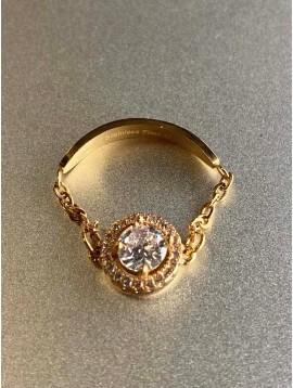 Bague Acier - Pendentif strass orné sur chaine fine et anneau