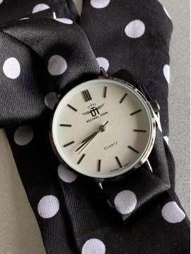 Montre - Bracelet interchangeable ruban en satin à pois ou effet acier