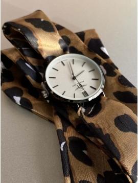 Montre - Bracelet interchangeable ruban en satin animal ou effet acier