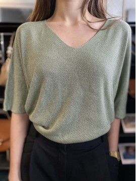 Pull tricot fin manches 3/4 lurex