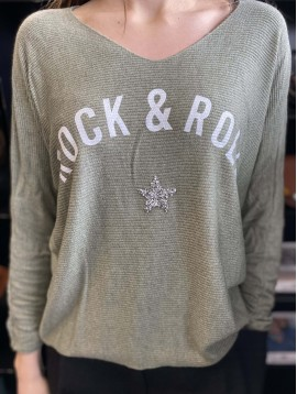Top oversize unie maille Rock&Roll