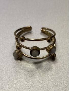 Bague Acier réglable - Trois anneaux fins avec perles