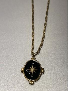 Collier Acier - Pendentif pastille ornée centre étoile sur chaine fine
