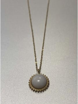 Collier Acier - Pendentif pierre naturelle ornée sur chaine fine
