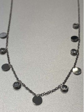 Collier Acier - Strass et pastilles pendantes sur chaine fine