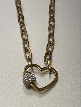 Collier Acier - Pendentif coeur avec pastille strass sur chaine
