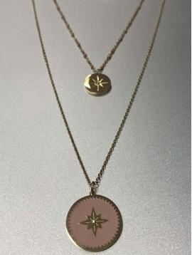 Collier Acier - Médaillons centre étoile et strass sur chaine 3 rangs