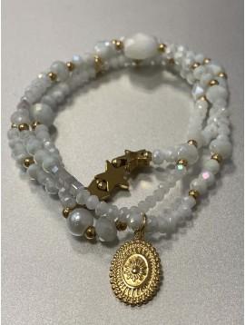 Bracelet Acier - Multi-rangs perles à facettes, pastille et étoiles