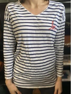 Tshirt manches longues tout marinière love et coeur