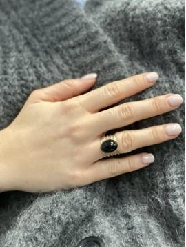 Bague Acier réglable - Pierre naturelle sur anneaux travaillés