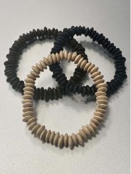 Bracelet Acier - Rang de pastille plates effet bois