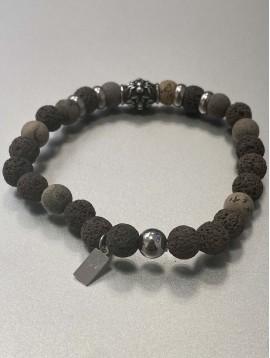 Bracelet - Rang perles façon pierre avec anneaux et pastille araignées