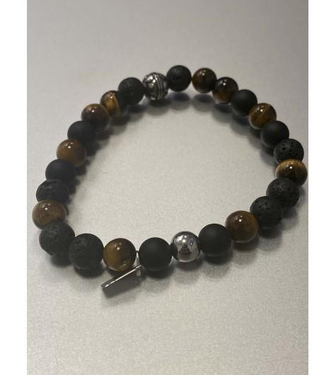 Bracelet - Rang perles differentes textures avec perle acier gravée