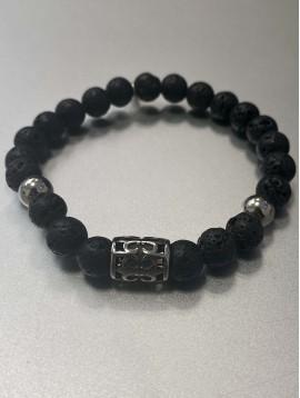 Bracelet - Rang perles façon pierre et acier et pastille acier gravée