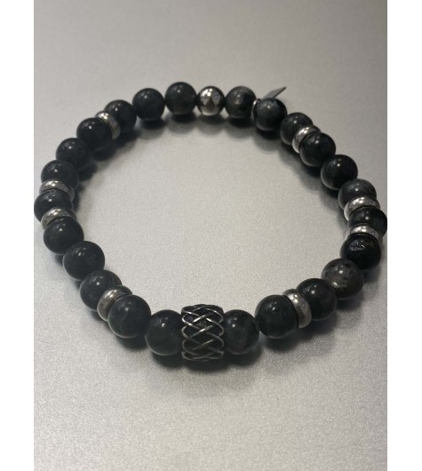 Bracelet - Rang perles effet marbre avec anneaux acier et pastille