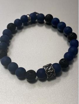 Bracelet - Rang perles mates avec anneau acier travaillé