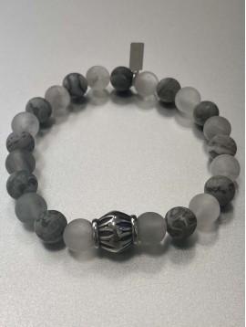 Bracelet - Rang perles transparentes et marbrées avec pastille acier
