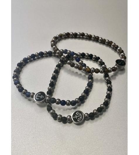 Bracelet Acier - Pendentif ancre sur rangs perles et pastilles rondes