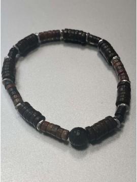 Bracelet Acier - Pierre rondes sur rang pierres et pastilles plates