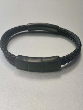 Bracelet Acier - Pièce en acier mate sur lien tréssé effet cuir