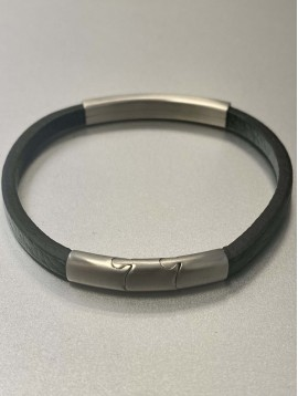 Bracelet Acier - Pièce en acier sur lien effet cuir