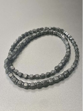 Bracelet Acier - Deux rangs perles carrées mates et pastilles acier