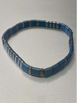 Bracelet Acier - Rang perles et pastilles acier plates