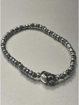 Bracelet Acier - Tête de mort sur rang perles et pastilles acier