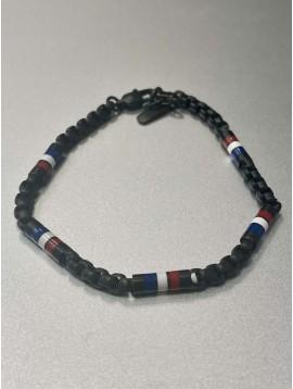 Bracelet Acier - Perles drapeau français sur chaine acier