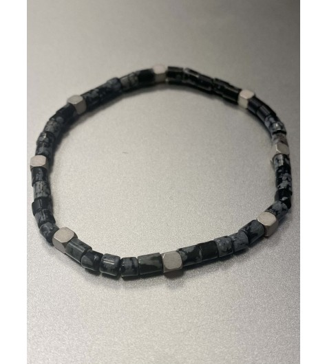 Bracelet Acier - Rang pierres marbrées et pastilles acier carées