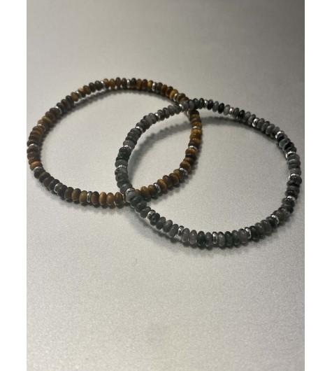 Bracelet Acier - Rang pierres ovales et pastilles acier