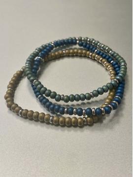 Bracelet Acier - Rang perles rondes mates et pastilles acier
