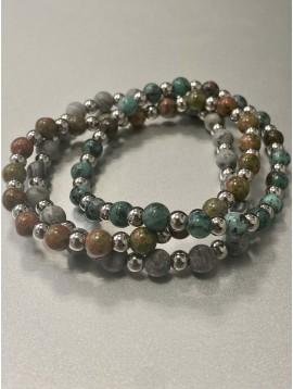 Bracelet Acier - Rang pierres effet marbre et pastilles acier