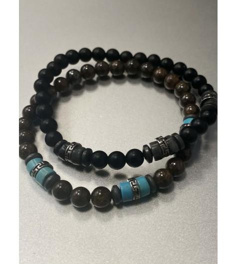Bracelet Acier - Rang perles épaisses avec pastilles acier travaillées