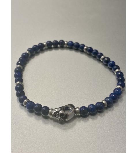 Bracelet Acier - Tête de mort sur rang perles rondes avec pastilles