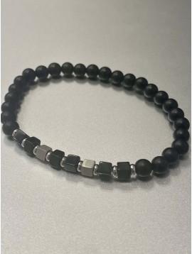 Bracelet Acier - Rang perles mates et pastilles acier carées