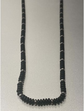 Collier Acier - Rang perles ovales mates et pastilles acier