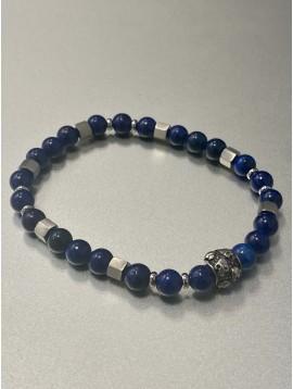Bracelet Acier - Rang perles et pastille acier incrustée tête de mort