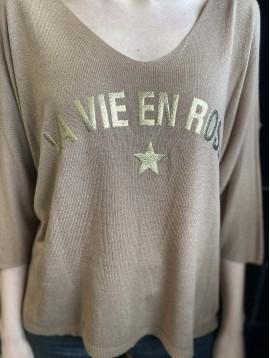 "Pull tricot fin manches 3/4""La vie en Rose"""