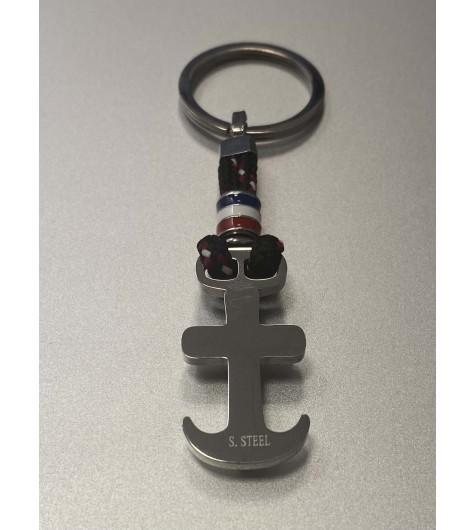 Porte clés - Porte clefs ancre sur corde et pastille drapeau français