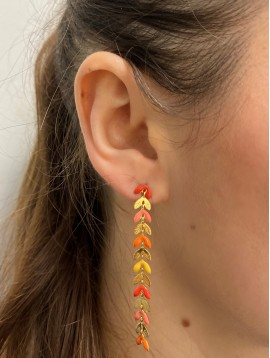 BO percées Acier - Feuilles pendantes gravées avec pastilles colorées