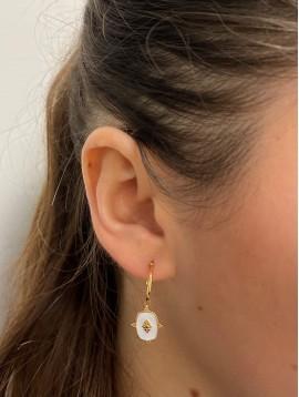 BO percées Acier - Pastille pendante ornée avec centre losange