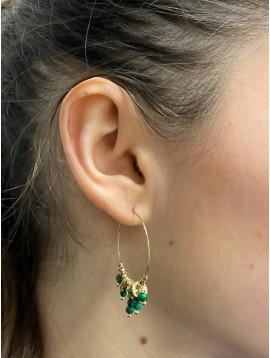 BO Acier - Anneaux avec pastilles, perles et pierres pendantes