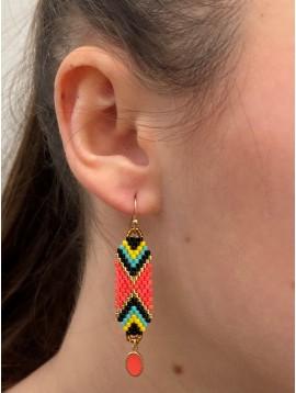 BO créoles Acier - Tressages pendants en perles colorées